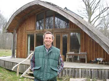 Alan in front of the Forest Ark at Hazel Hill Wood